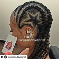 Braids By : @curlupanddyjanet A c cut one sided conrow with a a jumbo star. Looks good on a relax hair and even better when the braids are not so tinny , another view below.
