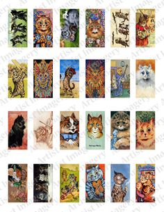Anthro CAT Kitty Louis Wain Collage Sheet Art by ArtistImagery, $3.00