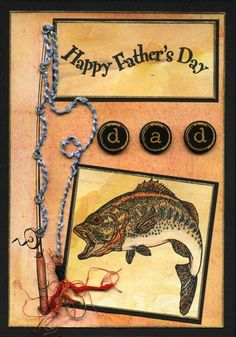 The minute I saw the PSX fish I had the idea for this one, but I couldn't find a stamp of a fishing rod/pole that was the right size anywhere! Eventually I resorted to Microsoft clip art and printed the fishing rod myself. My favourite part of this card is the fishing fly that I created - not too bad for a girl who doesn't like fishing! Materials Adirondak re-inkers: Butterscotch and Rust Versafine black ink pad White and black...