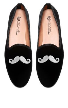 Del Toro Prince Albert Black Velvet Slipper Loafers With Mustache Embroidery