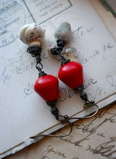 Beaded Earrings - Vintage Glass Beads - Red and White -Assemblage Earrings - White Roses - Mismatch Earrings. $40.00, via Etsy.