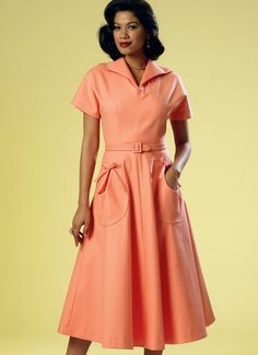 Butterick Sewing Pattern Misses' Circular Patch-Pocket Dress and Belt Butterick Sewing Patterns, Vintage Sewing Patterns, Retro Pattern, Retro Dress, Belted Dress, Dress Patterns, Retro Vintage, Wrap Dress, Shirt Dress