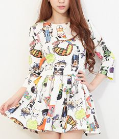 Two-Piece Cute Three Quarter Sleeve Ruffle Cartoon Printed Dresses