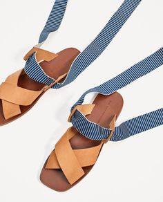 Image 7 of LEATHER SLIDES WITH INTERCHANGEABLE RIBBONS from Zara · Gov't  MuleFlat SandalsWoman ShoesZaraRibbonsImagesLeatherWide Fit ...