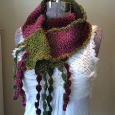 Crochet Scarf Magnificent Magenta Chartreuse Lime by GypsythatIwas, $36.00