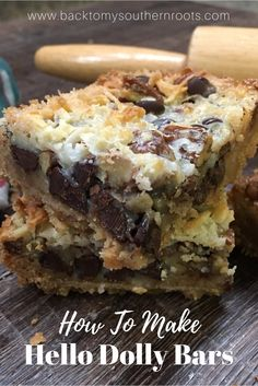 This is one of the best recipes for Hello Dolly Bars. The easy recipe includes c… This is one of the best recipes for Hello Dolly Bars. The easy recipe includes coconut, chocolate chips, and sweetened condensed milk for a delicious dessert. Recipe For Hello Dollies, Hello Dollies Bars, Milk Recipes, Cooking Recipes, Best Recipes, Bar Cookie Recipes, Kid Cooking, Cooking Steak, Cooking Bacon