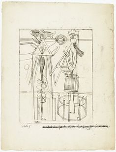 Louise Bourgeois. Untitled, plate 7, state I, from He Disappeared into Complete Silence. (1946-1947)