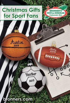 Calling all sports fans! Looking for the perfect sports gift for your Christmas tree, look no further! Bronner's offers both personalized and non-personlized sports gifts perfect for the sports fan in your family. Christmas Gifts For Sports Fans, Sports Gifts, Skateboard Boy, Christmas Wonderland, Personalized Ornaments, Christmas Tree, Christmas Ornaments, Sports Activities, Cheerleading