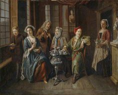 A Tea Party by Joseph van Aken Manchester City Galleries ~ ca1719