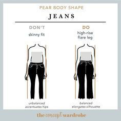 Pear Body Shape Jeans Do's and Don'ts - the concept wardrobe hochzeitsgast dresses Pear Shape Fashion, Look Fashion, Fashion Outfits, 2000s Fashion, Curvy Fashion, Fall Fashion, Fashion Design, Pear Shaped Outfits, Pear Shaped Women