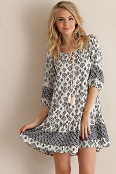 Border Print Peasant Dress - Navy - Knitted Belle Boutique - 1