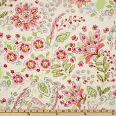 Pretty Little Things Emma Floral Cream - Fabric Crafts Pink Curtains, Cream Curtains, Free Spirit Fabrics, Morris, Thing 1, Pretty Bedroom, Teal And Pink, Fabulous Fabrics, Little Girl Rooms