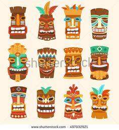 Tiki Tribal Mask : Hawaiian Elements : Vector Illustration