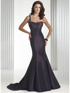 A dynamic fit and flare taffeta gown featuring a striking jeweled single shoulder strap and a delicate sweetheart neckline with a zipper back and a sweep train. Colors Available Midnight Amethyst, Hot Berry Pink and more to contact us.