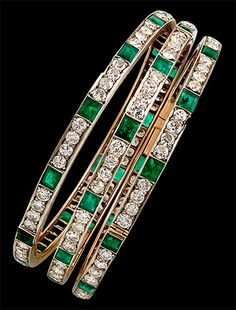 Circa 1930 3pcs. Diamond & Emerald Bangle