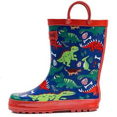 LONECONE Rain Boots with Easy-On Handles in Fun Patterns for Toddlers and Kids, Puddle-a-Saurus Dinosaur, Toddler 9 Baby Rain Boots, Toddler Rain Boots, Girls Rain Boots, Kids Boots, Boys Shoes, Rubber Rain Boots, Colors For Toddlers, Kids Store, Cool Patterns