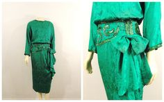 Vintage Dress Plus Size Green Silk Jacquard by 30s Style, Plus Size Vintage Dresses, 30s Fashion, Green Silk, Color Shades, Kimono Top, Sequins, How To Wear, Etsy