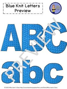 This blue knit set of clip art letters by Miss Jeans Class includes punctuation, upper and lowercase letters! These work great for educational and craft purposes. Use them for crafts, lesson plans, work sheets, word walls and decorating bulletin boards. Upper And Lowercase Letters, Lowercase A, Word Walls, Punctuation, Knit Patterns, Bulletin Boards, Art Images, Lesson Plans, Fonts