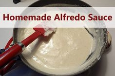 Homemade Alfredo Sauce Recipe   1 Tablespoon butter 4 cloves minced garlic 1 cup heavy cream 6 Tablespoons finely grated parmesan cheese (not from a can) 1/4 teaspoon freshly ground nutmeg salt & pepper to taste