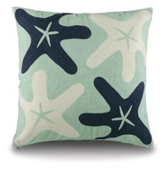 "Our Newest FULLY EMBROIDERED PILLOW covers are in...""Floating Star Fish"" are Navy and White with a gorgeous coastal blue background. Covers are $54.00 each - and can be shipped out with or without inserts! Hunter Douglas, Blue Backgrounds, Cotton Linen, Custom Framing, Service Design, Navy And White, Design Projects, Modern Art, Pillow Covers"