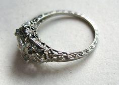 Art Deco .55 ct Diamond and 18k White Gold Filligree Engagement Ring