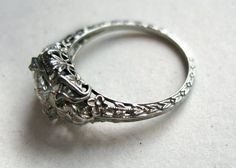 Art Deco .55 ct Diamond and 18k White Gold Filligree Engagement Ring