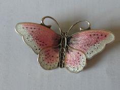 Sterling Silver Pink Enamel Butterfly Brooch - Hroar Prydz Norway