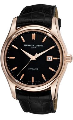 Frederique Constant Index Black Dial Rose Gold-Tone Mens Watch 303G6B4 US$1270