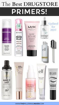 *UPDATED 2021 | Drugstore primers that really work & are actually worth it! These are the most highly-rated primers for eyes and face found at the drugstore in 2021. A variety of mattifying options for oily skin and my favorite moisturizing & dewy picks for dry and normal skin. Whatever your skin needs, there's a makeup primer for you. Convenient links to reviews + shoppings links included. #drugstoremakeup #drugstoreprimers #bestprimers Best Drugstore Primer, Best Drugstore Foundation, Drugstore Makeup Dupes, Best Matte Primer, Makeup Brands, Eyeshadow Primer, Makeup Primer, Makeup Kit, Makeup Ideas
