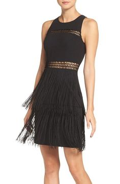 Free shipping and returns on Aidan by Aidan Mattox Fringe Sheath Dress at Nordstrom.com. Sheer crochet bands show off flirty glimpses of skin on this playful LBD that's ready for twirling and dancing with a swingy fringe skirt.