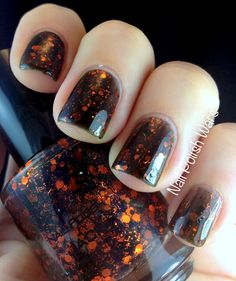 Nail Polish Wars- Jack by JBShimmer. black jelly with orange hex and bar glitter. Can we say HALLOWEEN?