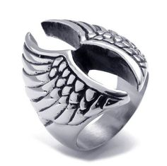 Titanium Steel Angels Wings Ring
