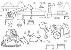 Ausmalbild Transportmittel: Kostenlose Malvorlage: Auf der Baustelle kostenlos ausdrucken