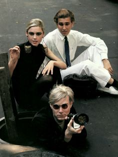 Edie Sedgwick, Gerard Malanga and Andy Warhol