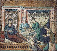 Nacimiento de la Virgen, mosaico de Pietro Cavallini en Santa María in Trastéver