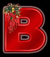 Alfabeto navideño tintineante con corazones rojos.