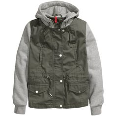 H&M Hooded jacket ($25) ❤ liked on Polyvore featuring outerwear, jackets, khaki green, hooded drawstring jacket, green zipper jacket, zip jacket, khaki hooded jacket and hooded zip jacket