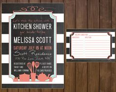 Printable Kitchen Bridal Shower Invitation and Recipe Card - Shabby Chic - Coral and Teal on Etsy, $15.00