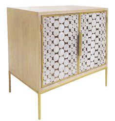 Serena Bedside Table - Hardwood w/Two Polished Capiz Shell Doors