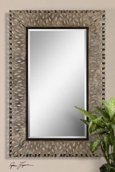 Beautiful large mirror with decorative cutouts - antiqued silver with brown acents