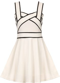 Whip Smart Dress: Features a brilliant white foundation with contrast binding for pop, beautifully tailored crossover bodice, centered rear zip closure, and a ladylike A-line skirt to finish.