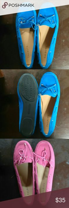 "Talbots Moccasins Have 2 pairs, 1 Royal Blue and 1 Pink!! Step into style with these easy-to-wear, monochrome moccasins. Designed with memory foam footbeds, breathable lining and non-skid soles, these silky suede shoes are durable enough to go the distance.   1/2"" heels; Memory foam footbeds; Rubber outsoles; Antibacterial breathable napa lining; Silk suede uppers; Shiny gold grommets and end caps Talbots Shoes Moccasins"