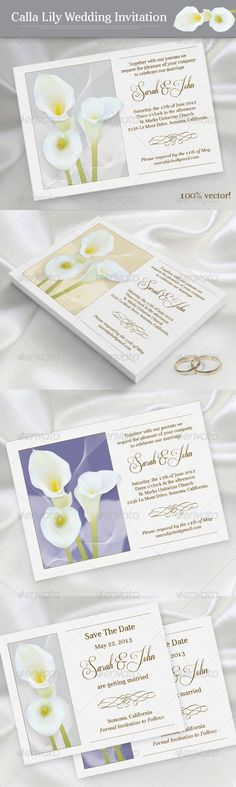 "Calla Lily Wedding Invitation  #GraphicRiver        This set includes printable templates for the following items: - 5"" x 7"" Wedding invite card - 5"" x 4"" Save-the-date - Aver (free):  .dafont /aver.font - Respective (free):  .dafont /respective.font     Created: 3April13 GraphicsFilesIncluded: PhotoshopPSD Layered: Yes MinimumAdobeCSVersion: CS3 PrintDimensions: 5x7 Tags: beige #bride #callalily #classic #flower #gentle #gray #marriage #savethedate #weddingannouncementcard #weddingceremony…"