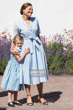 Crown Princess Victoria of Sweden and Princess Estelle of Sweden are seen meeting the people gathered in front of Solliden Palace to celebrate the 40th birthday of Crown Princess Victoria of Sweden on July 15, 2017 in Borgholm, Sweden.  (Photo by Andreas Rentz/Getty Images)