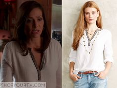 Switched at Birth: Season 4 Episode 4 Regina's White Placket Blouse