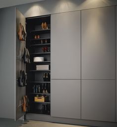 high cupboards for shoes for example in the pantry Graploss with tipon cabinet shoebox is part of Hall wardrobe - Hall Wardrobe, Wardrobe Door Designs, Wardrobe Design Bedroom, Diy Wardrobe, Built In Wardrobe, Closet Designs, Flur Design, Home Entrance Decor, Bedroom Cupboards