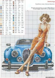 point de croix femme & voiture - cross stitch woman & blue car