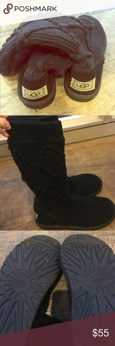 """Ugg black knit sweater boots Brand new black knit ugg boots without tags. Classic Argyle sweater knit boot. Size 8. Boots hit at about mid calf or a couple inches below the knees. Perfect condition.                                                                    Raised argyle pattern details the shaft of a cozy sweater-knit boot designed with a cushy EVA sole and soft sheepskin footbed. Pull-on style. Approx. boot shaft height: 13""""; 12"""" calf circumference. Stretches to fit a wide calf…"""