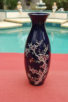 Large-Cobalt-Vase-Slim-Floral-Design-Lovely-Gold-Accents