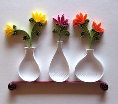 Papelaria incrível! Lindas flores em jarros, com um belo efeito em alto-relevo, dando o ar da graça nas suas criações!   Fonte: DAYDREAMS